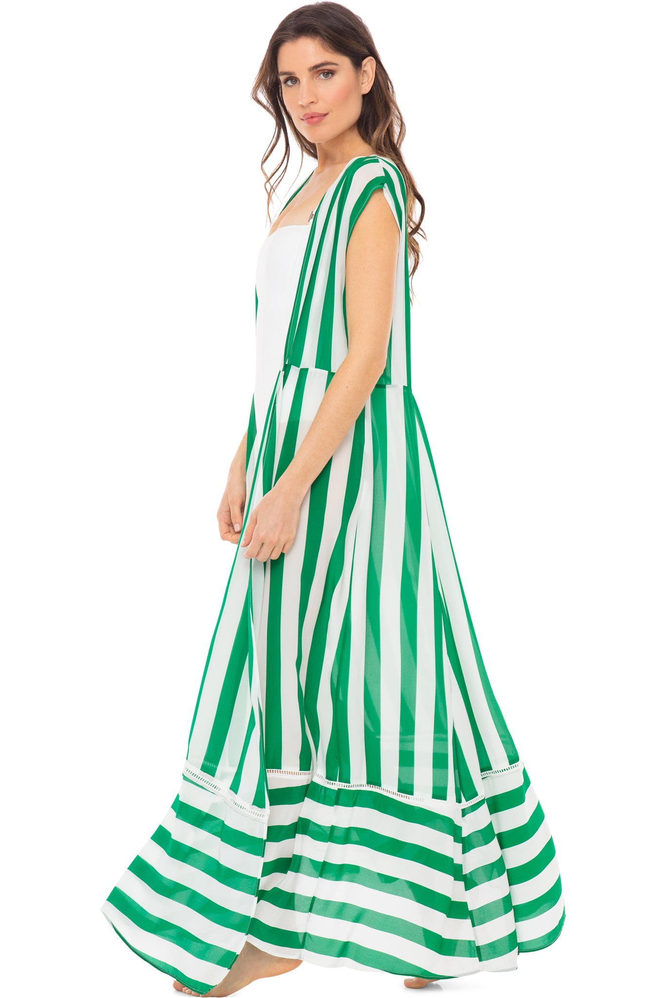 Audrey sleeveless maxi cover-up in green and white stripes - side shot