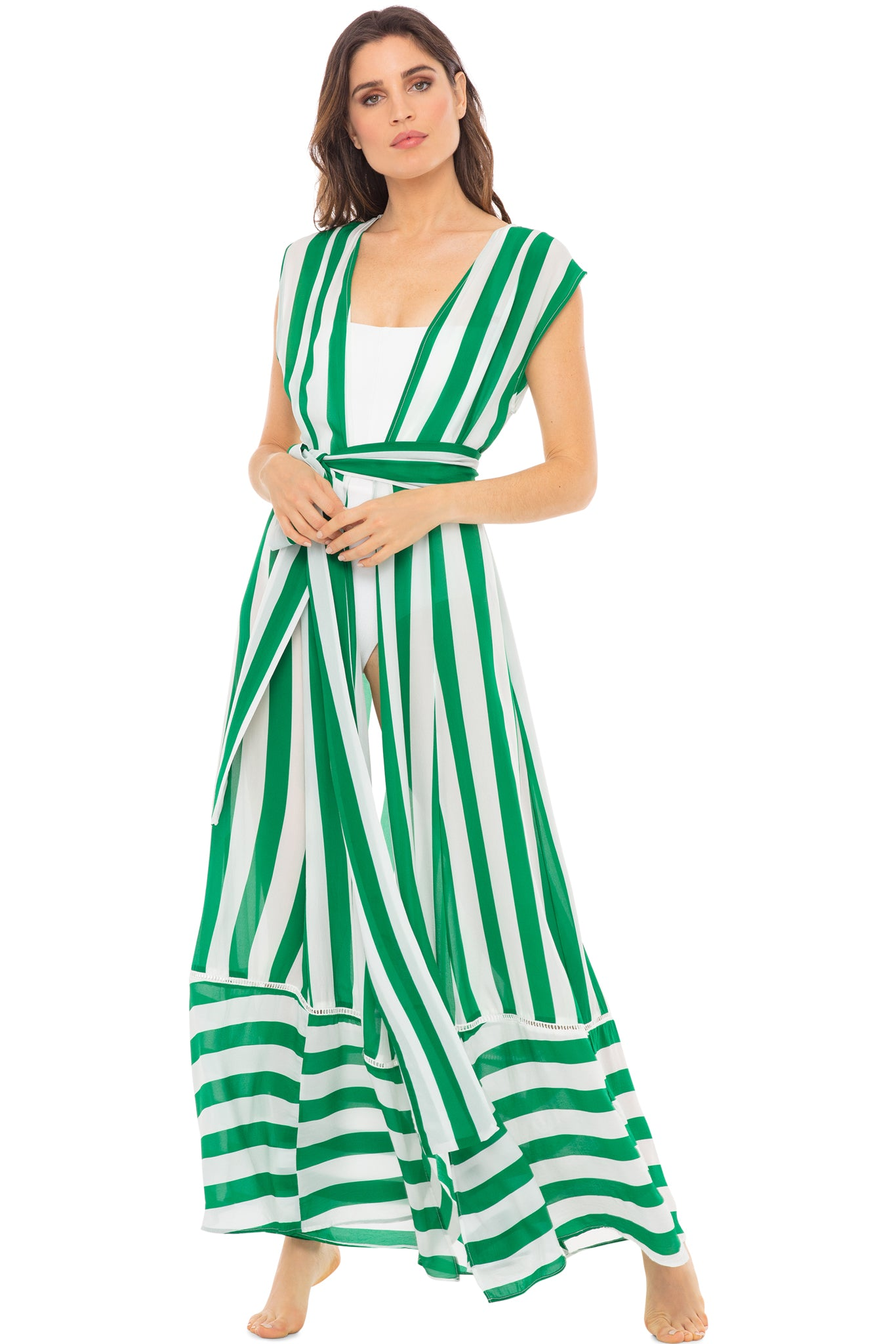 Audrey sleeveless maxi cover-up in green and white stripes - front