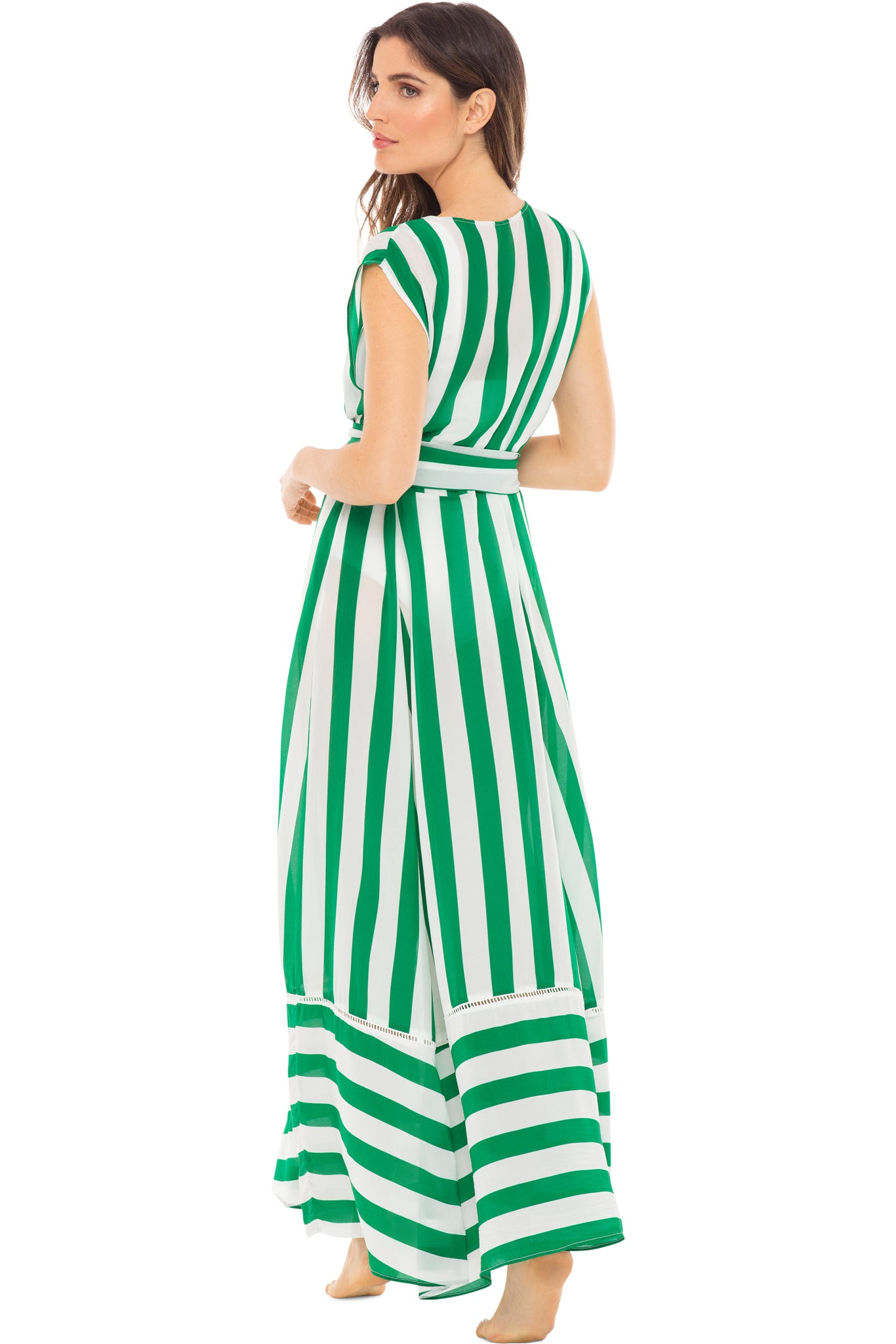 Audrey sleeveless maxi cover-up in green and white stripes - back