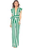 Farrah ruffle maxi sleeve jumpsuit in green and white stripe. Model shot front