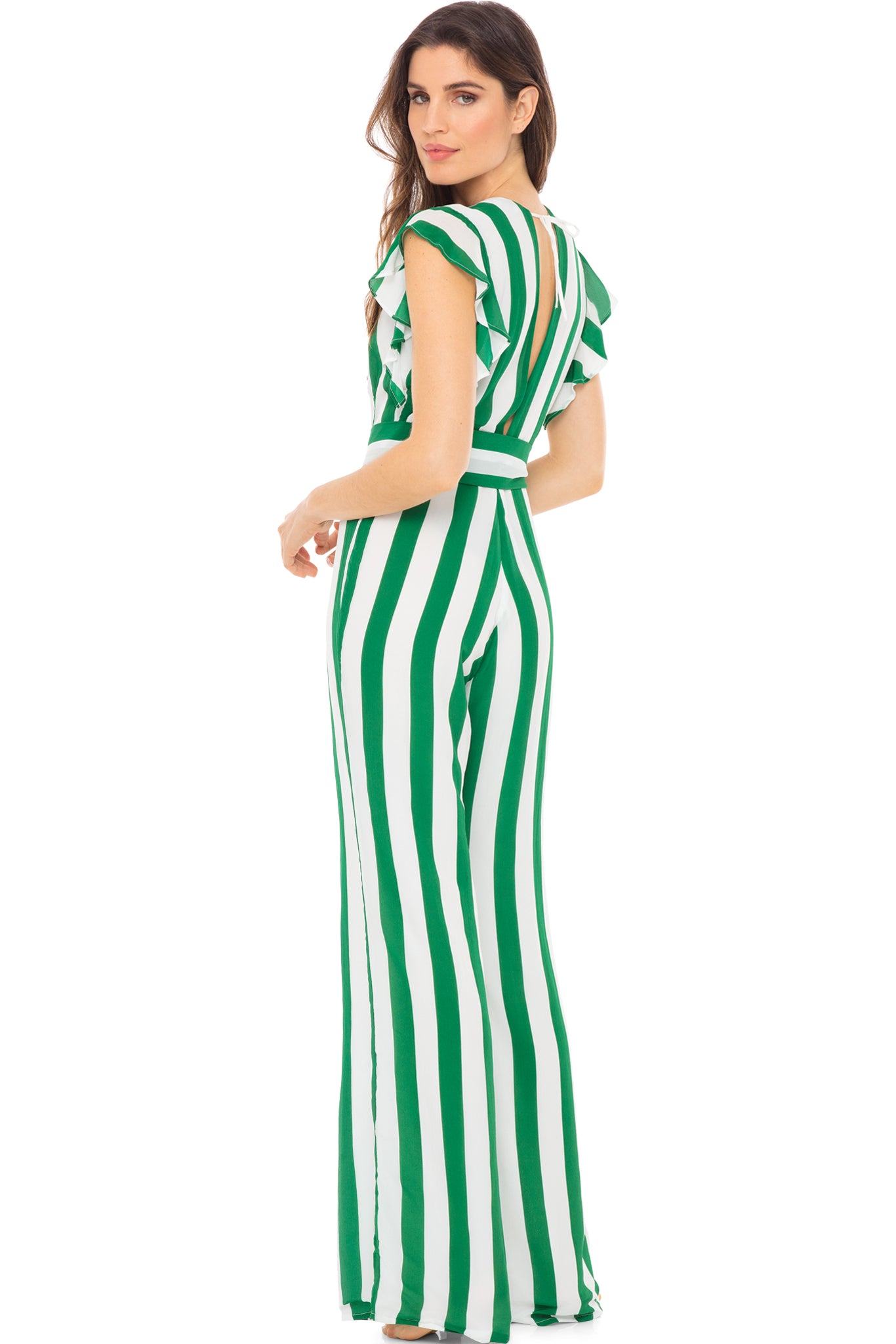 Farrah ruffle maxi sleeve jumpsuit in green and white stripe. Model shot back