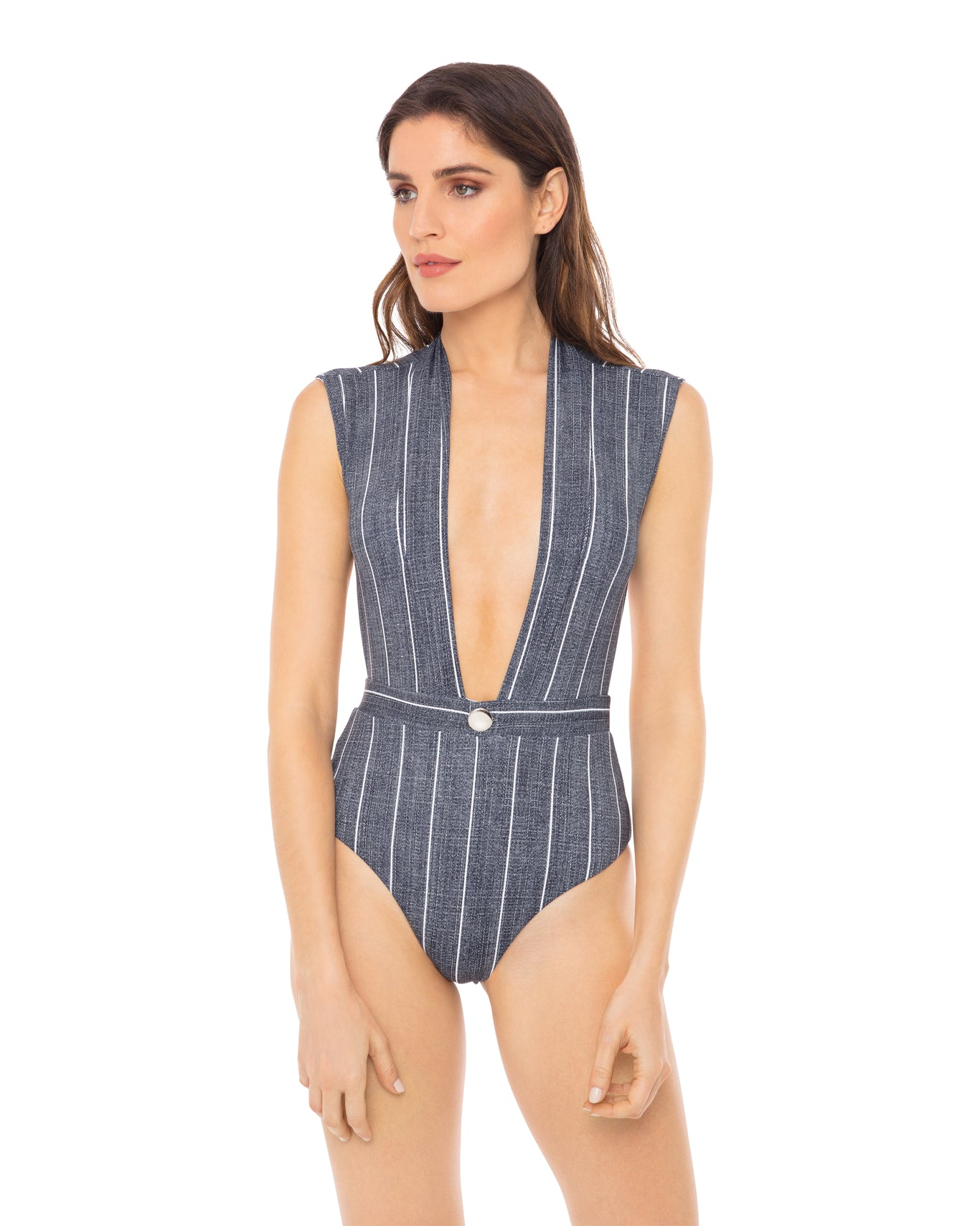 Gene plunging one piece in grey pin stripe front view