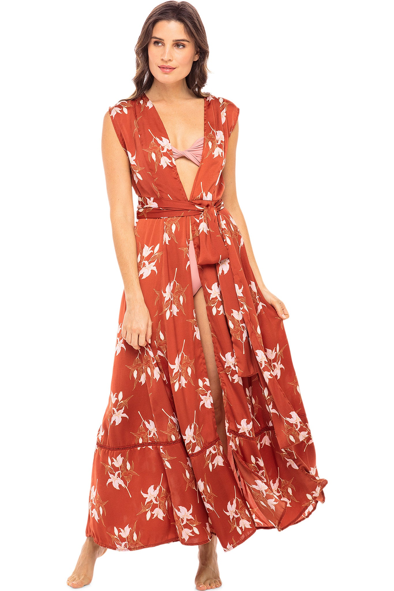 Audrey Sleeveless Duster - Rust Lily