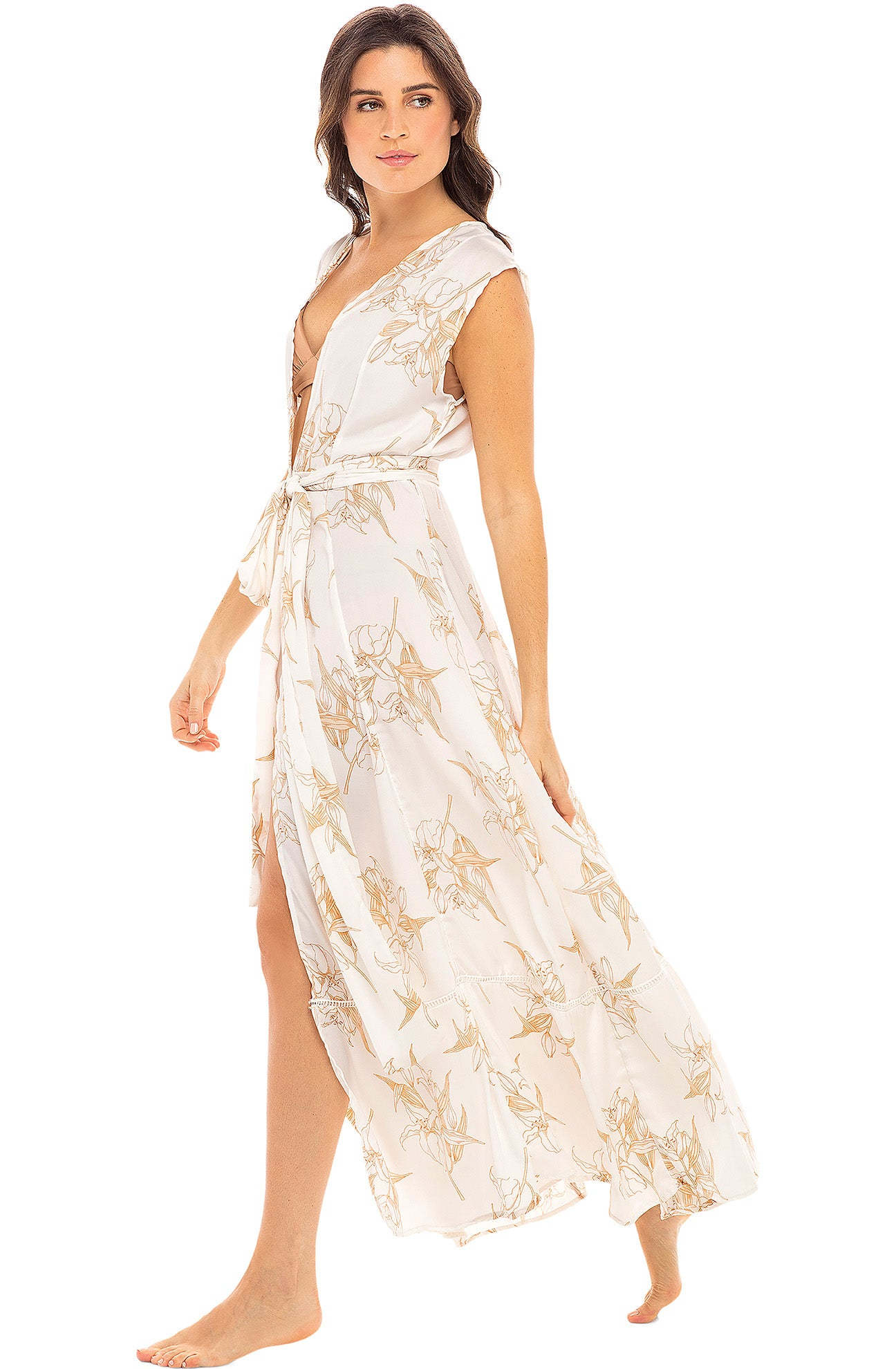 Audrey Sleeveless Duster - White Lily