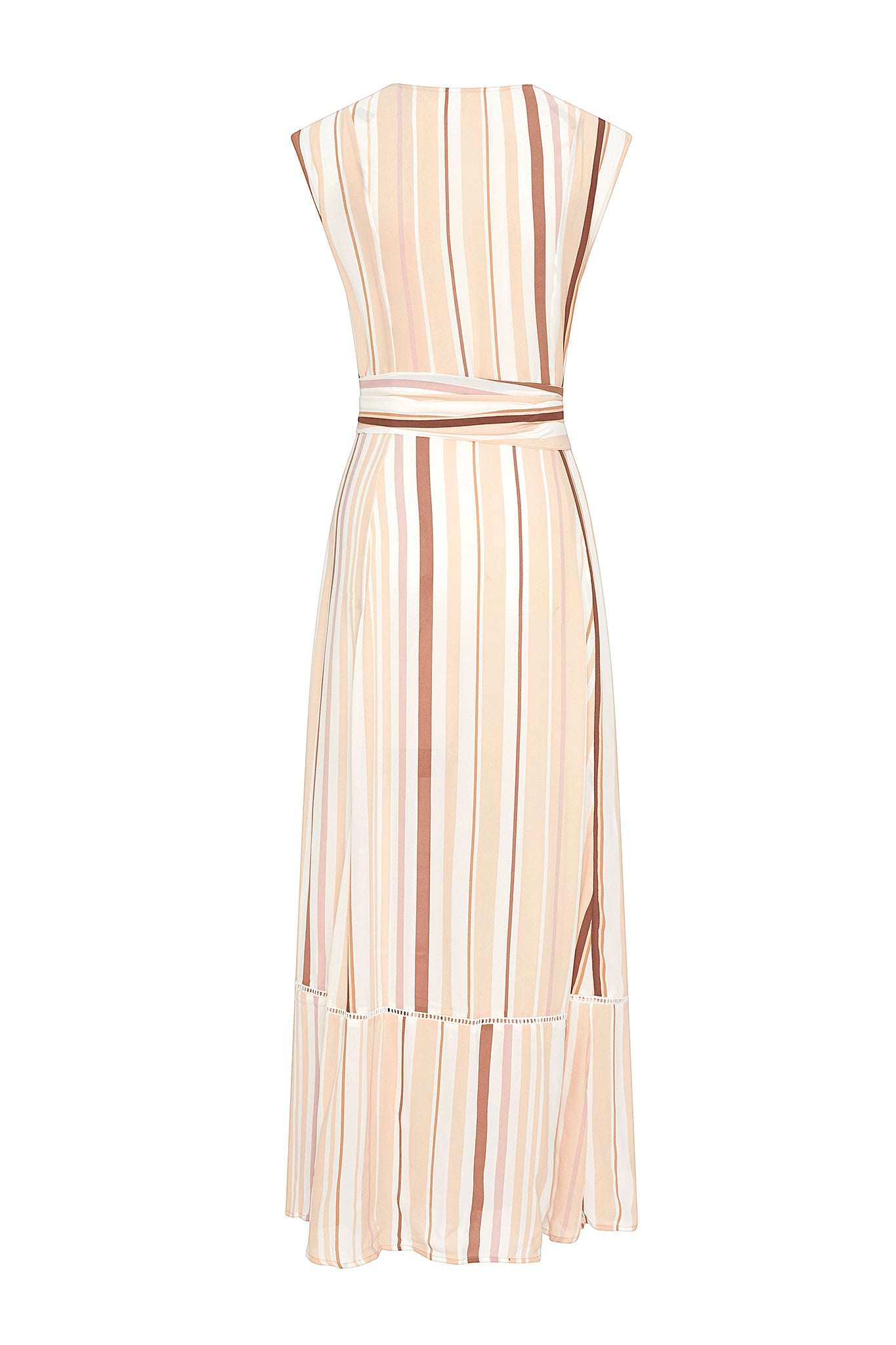 Audrey Sleeveless Duster - Tan Stripe