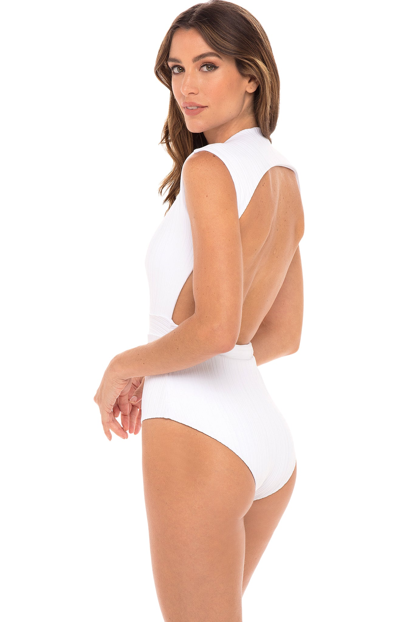 Gene Deep Plunge One Piece in White Ribbed Fabric