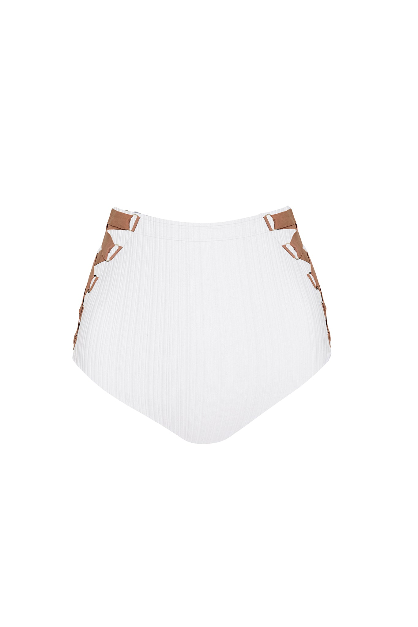 Riley Lace-up Highwaist Bottom in White Ribbed Fabric