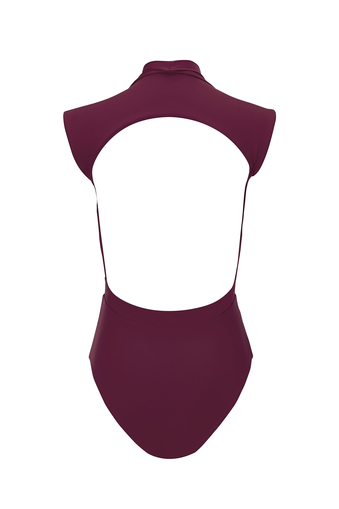 Gene plunging one piece in plum, product shot