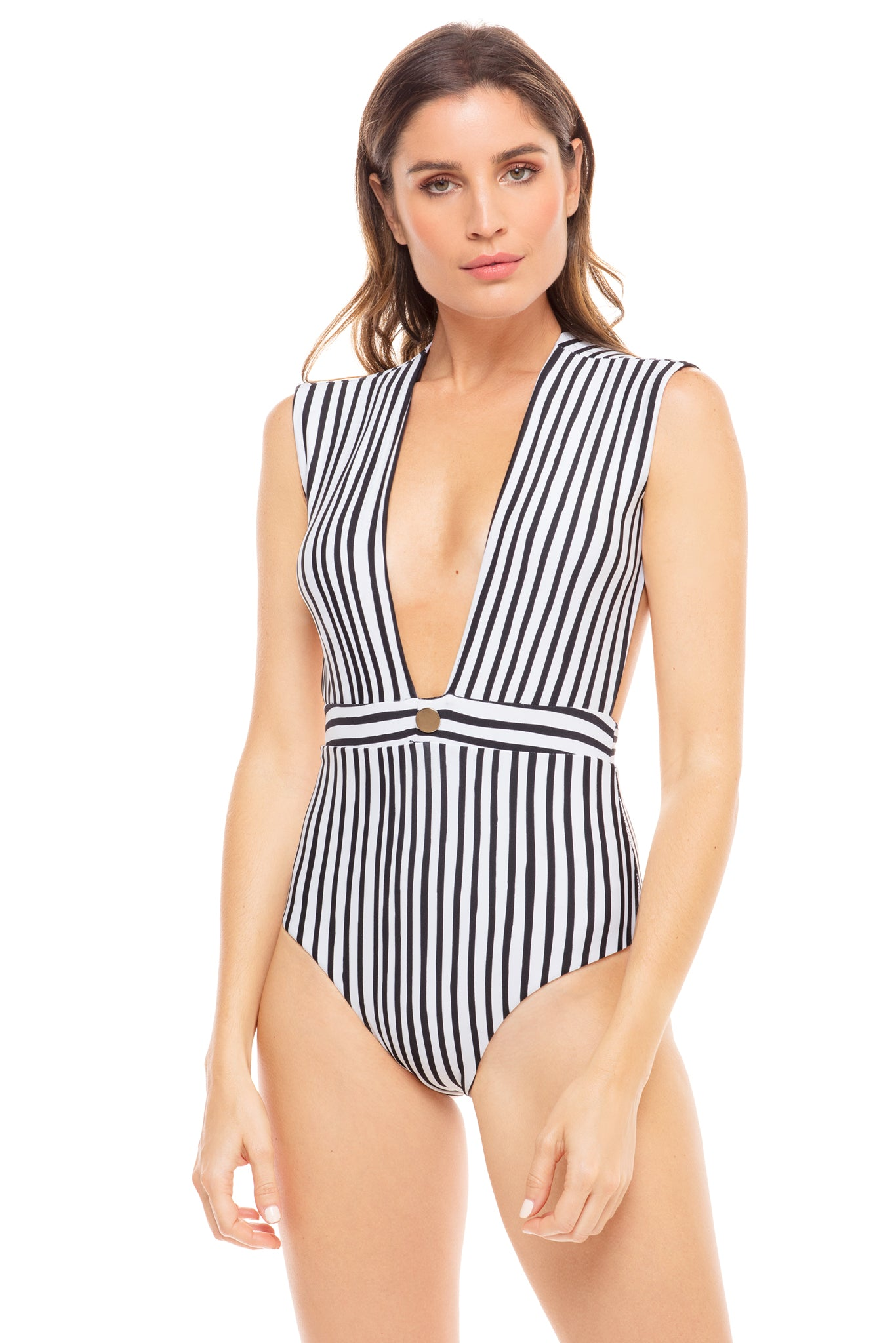 Emery cap sleeve one piece in black and white stripe. Model shot front