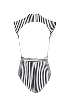 Emery cap sleeve one piece in black and white stripe. Product shot back