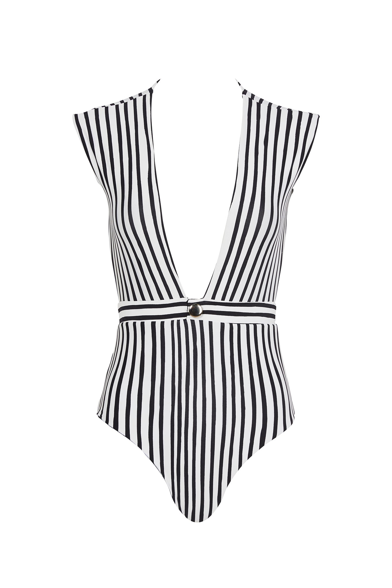 Emery cap sleeve one piece in black and white stripe. Product shot front