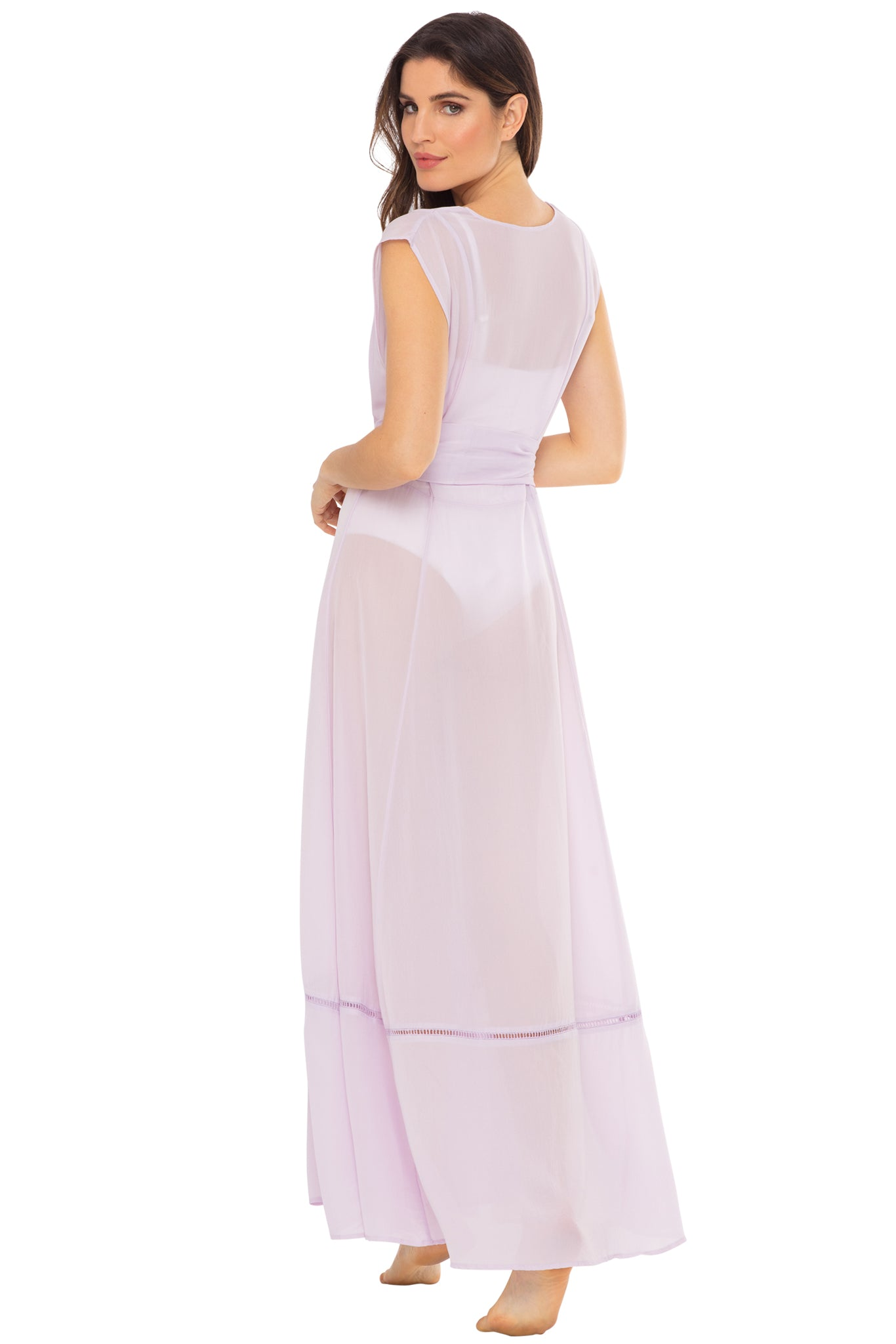 Audrey sleeveless maxi cover-up in lavender - back shot