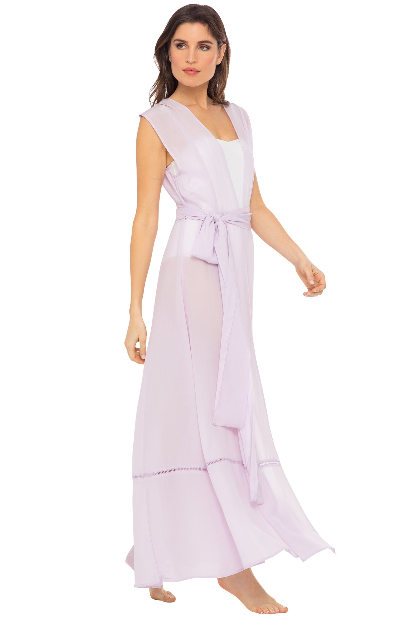 Audrey sleeveless maxi cover-up in lavender - side view