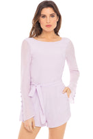 Belle long-sleeve romper in lavender - front
