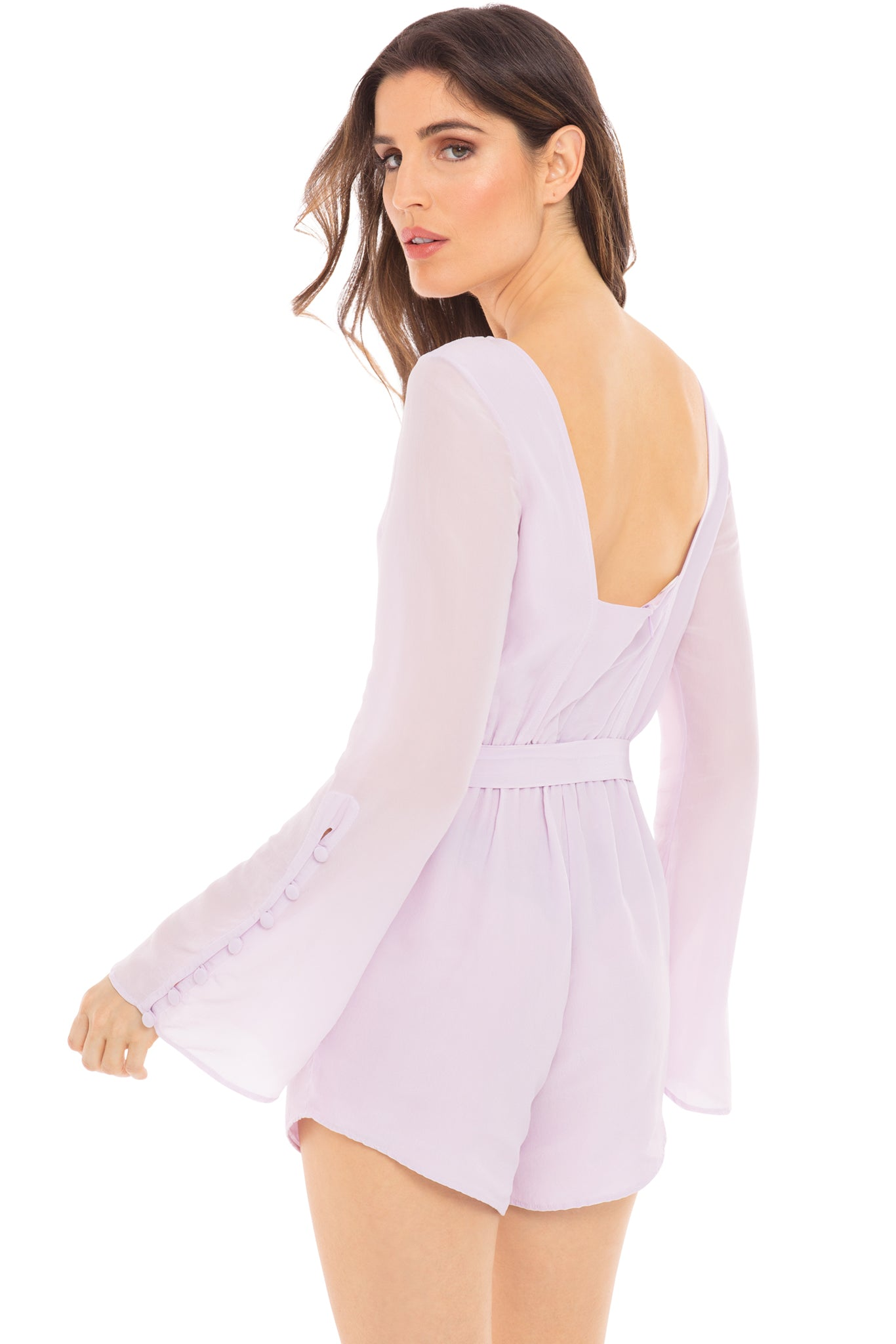 Belle long-sleeve romper in lavender - back