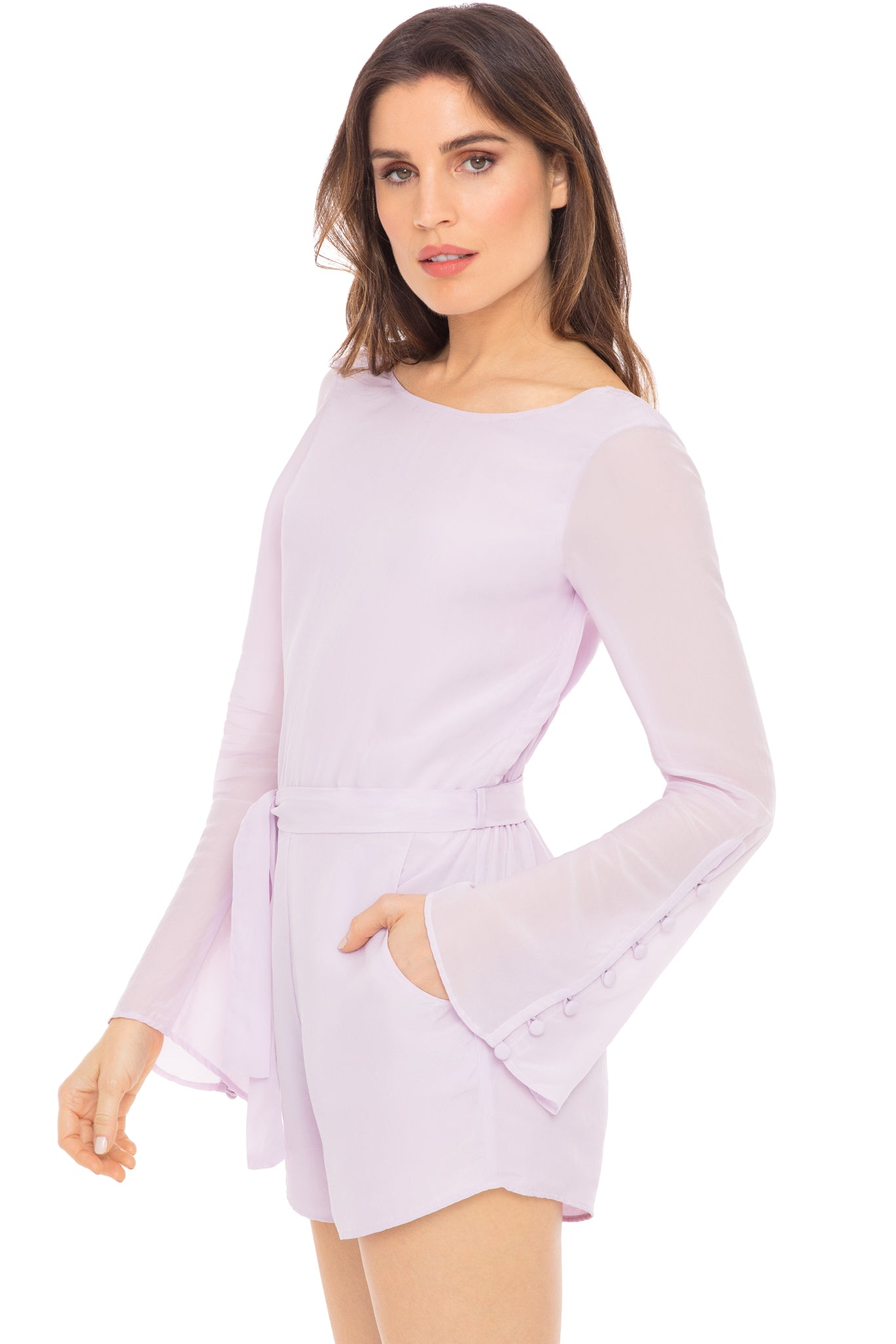 Belle long-sleeve romper in lavender - side view