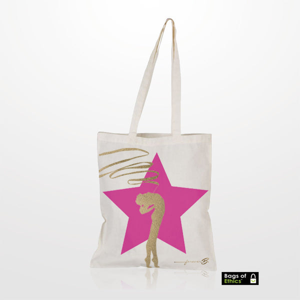 Beige shopper bag with metallic printing on one side