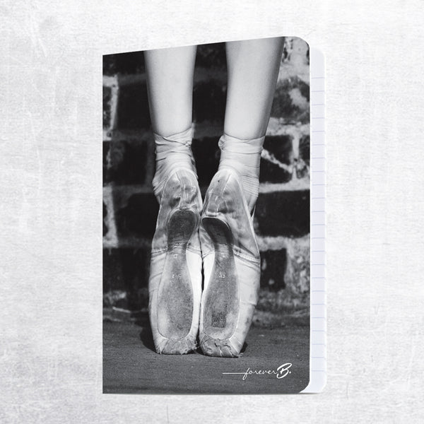 A4 lined paper notebook, B&W pointe shoes