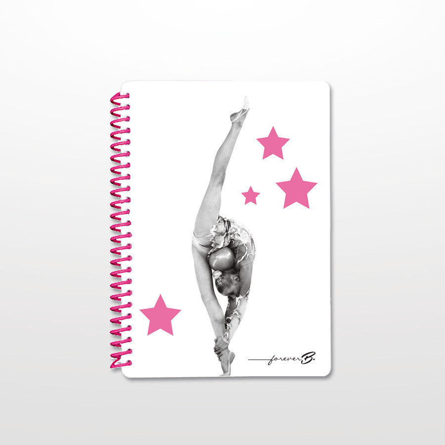 GYM A5 notebook lined pink plastic binder