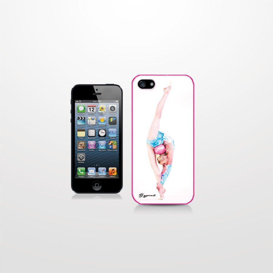 Pink and white iPhone 4 case with a gymnast picture