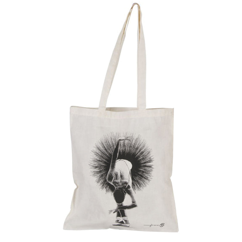 Beige tote bag, b&w ballerina in 5th position