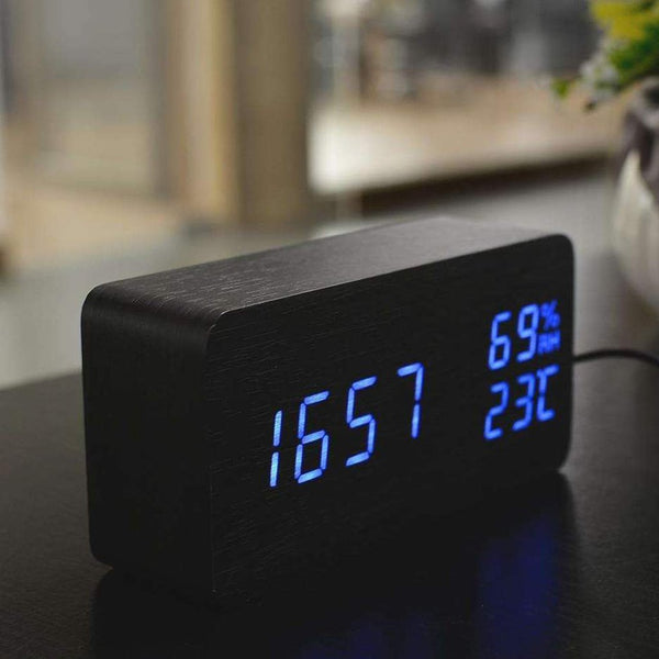 RECTANGLE LED WOODEN CLOCK