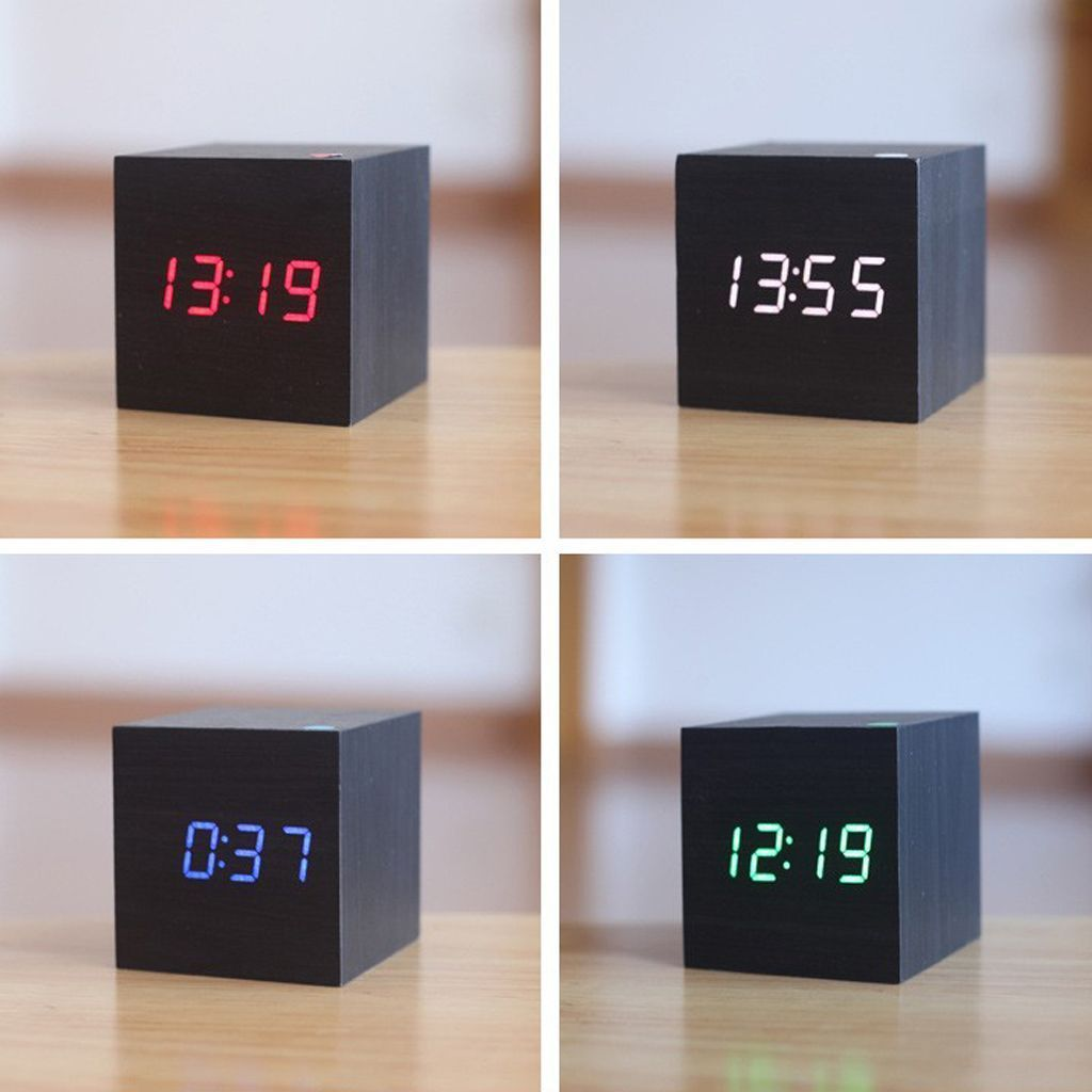 SQUARE LED WOODEN CLOCK