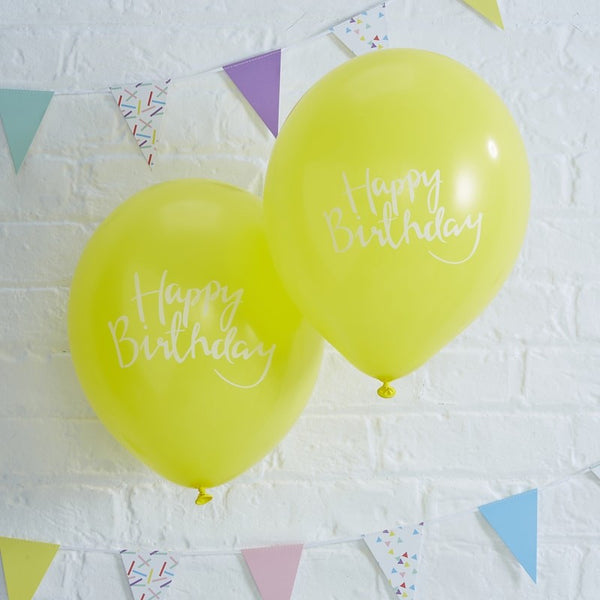 Happy Birthday Yellow Balloons