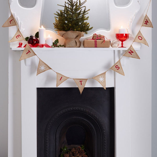 Christmas Hessian Bunting - Let It Snow