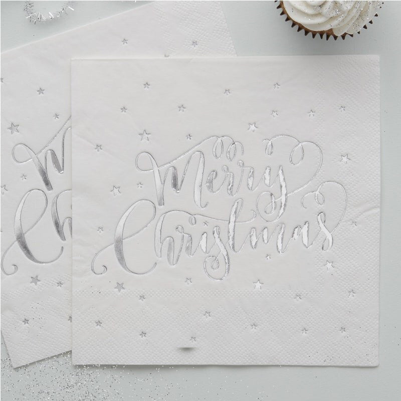 Silver Foiled Merry Christmas Napkins