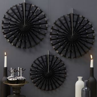 Black Halloween Spider Fan Decorations