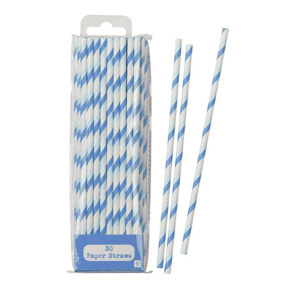 Blue Striped Straw