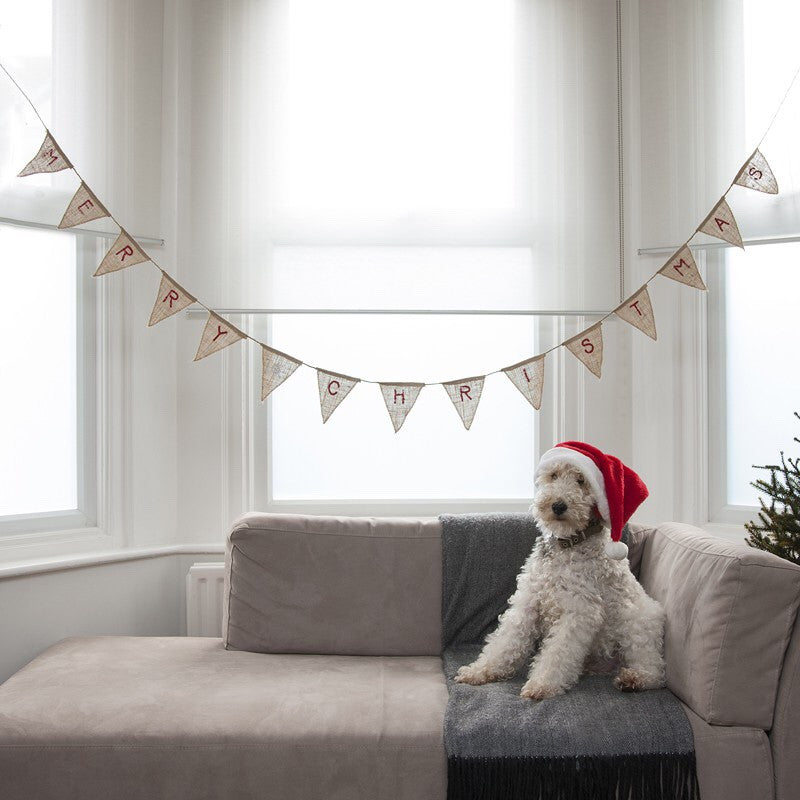 Merry Christmas Hessian Burlap Bunting