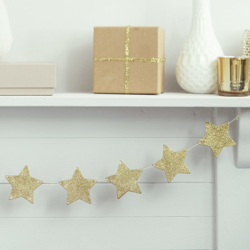 Gold Glitter Star Wooden Bunting