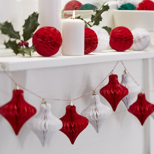 Christmas Red And White Honeycomb Bauble Garland