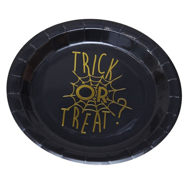 Gold Foiled Halloween Plate - Trick Or Treat