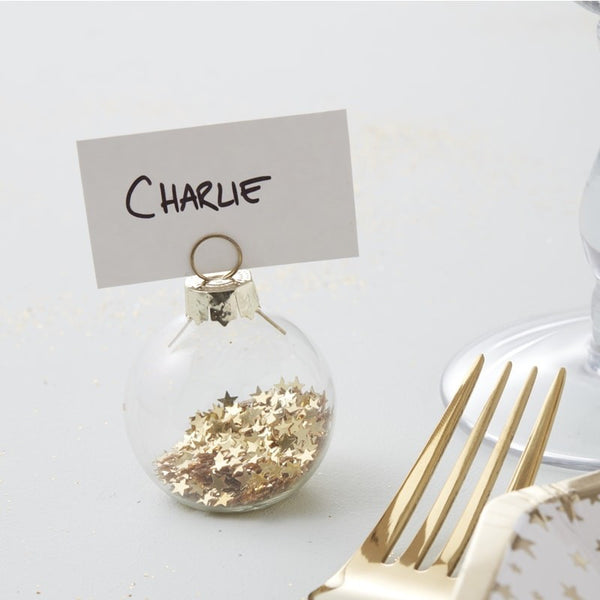 Gold Star Bauble Place Card Holders