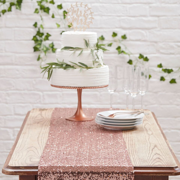 Rose Gold Sequin Table Runner - Beautiful Botanics