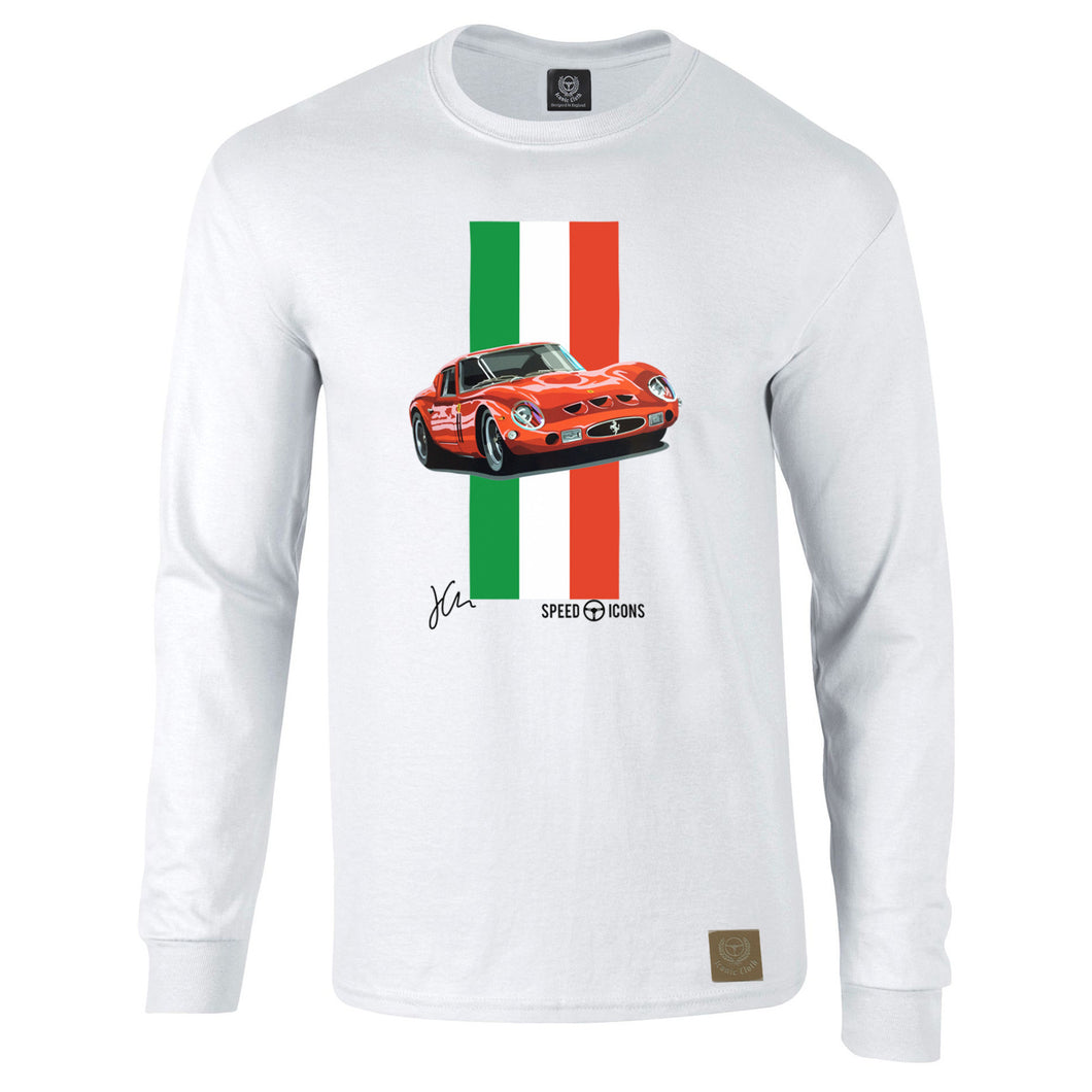 Ferrari 250 GTO Gent's Long Sleeved T-Shirt By Joel Clark - iconic-cloth