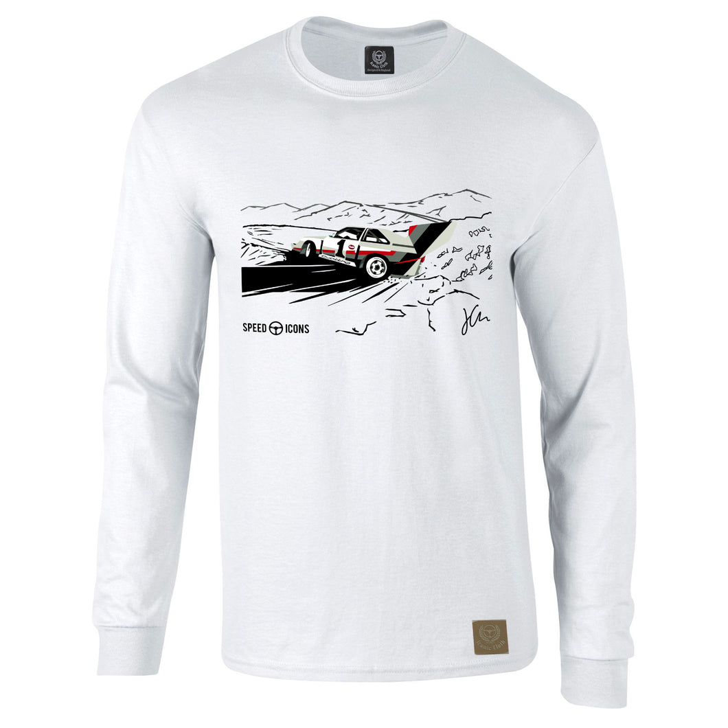Audi Quattro S1 Pikes Peak Gent's Long Sleeve T-Shirt By Joel Clark - iconic-cloth