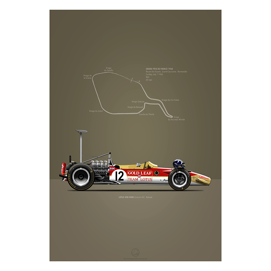 LAST CORNER - LOTUS 49B-FORD ROUEN-LES-ESSARTS 1968 - iconic-cloth
