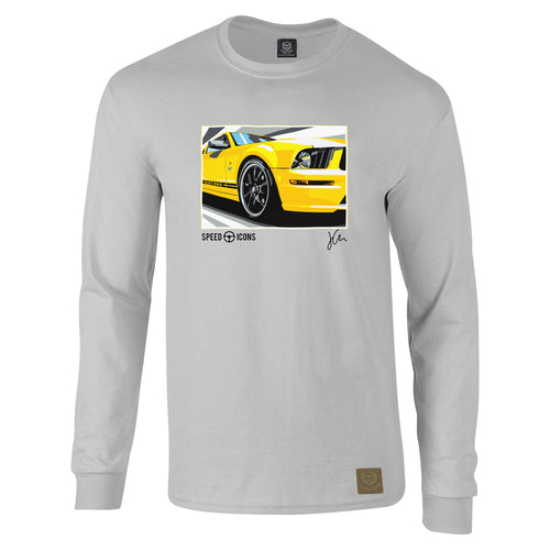 Speed Icons Ford Mustang Long-Sleeved Gent's T-Shirt by Joel Clark - iconic-cloth