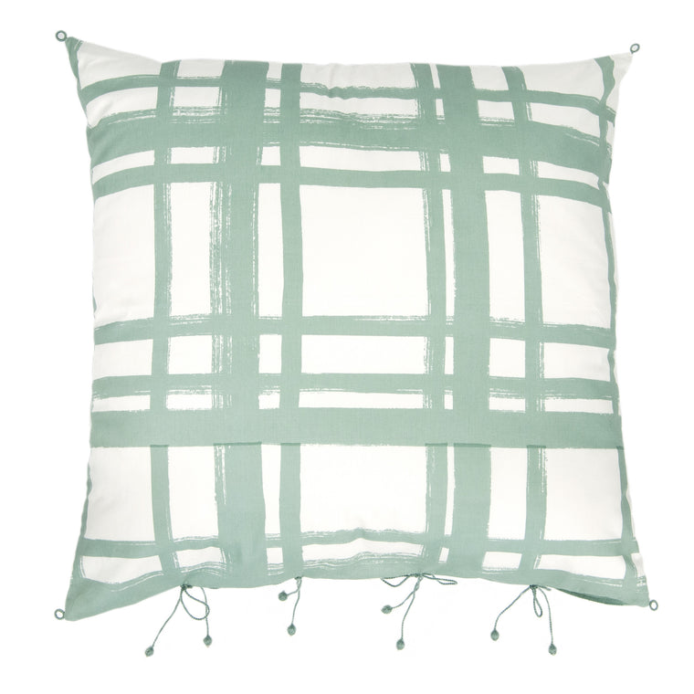 Chowkad Tartan Cushion Cover Blue/Turquoise