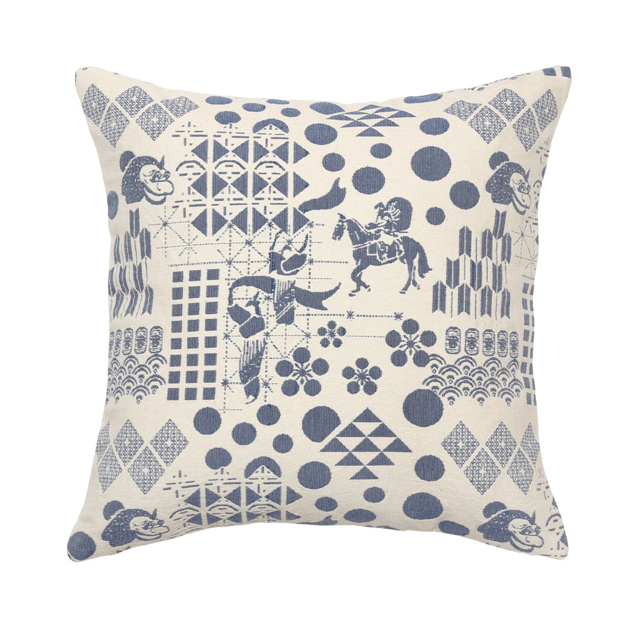 Blue Festival Woven Cushion Cover