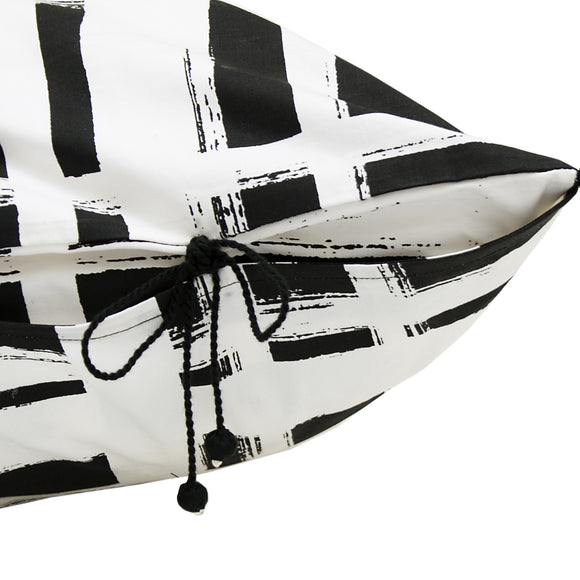 Chowkad Tartan Cushion Cover Black