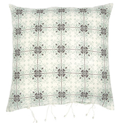 The Isayu Grid patterned cushion cover blue/turquoise by No-Mad 97% India