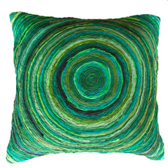 The Katran round pattern cushion cover green by Sahil & Sarthak