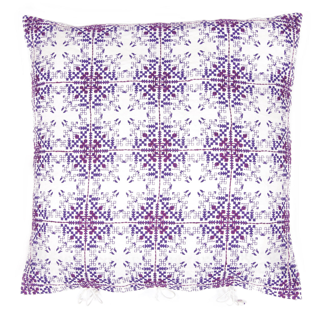 Isayu Grid Cushion Cover Purple
