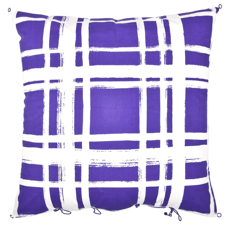 Chowkad Tartan Cushion Cover Purple