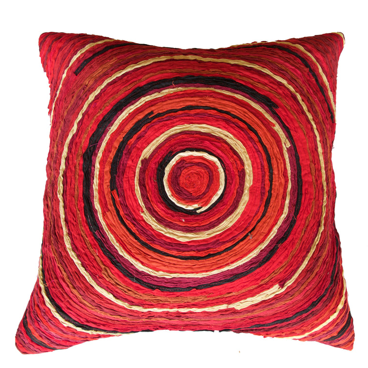 Katran Cushion Cover Round Red